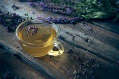 Зеленый чай с herbals Чай с душицей на деревянном backgroun Стоковые Изображения