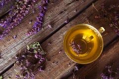 Зеленый чай с herbals Чай с душицей на деревянном backgroun Стоковое фото RF