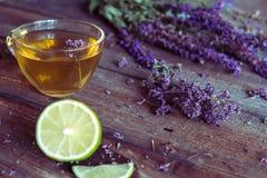 Зеленый чай с herbals и известкой Чай с душицей на деревянном Стоковая Фотография