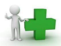 зеленый человек 3d плюс показывать знак thumb вверх Стоковое Фото