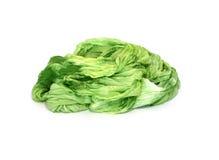 Зеленый шелк изолированный на белизне Стоковые Фотографии RF