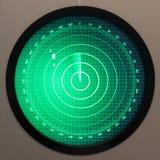 Зеленый экран радара с точками Стоковая Фотография