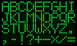 Зеленый электронный цифровой английский алфавит Стоковые Фотографии RF