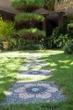 Зеленый ярд с каменной дорогой Стоковые Изображения
