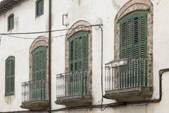 3 зеленых балкона на старом фасаде Стоковое фото RF