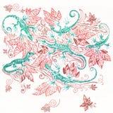 6 зеленых ящериц в красной листве Стоковые Фото