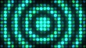 Зелен-голубая светлая стена проблескивает с большими пульсируя кольцами сток-видео