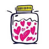 Зелье любов сражения и склянка напитка любов Открытка и плакат на счастливый день Валентайн иллюстрация штока