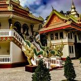Земли того виска Wat Phoun, Вьентьян Лаос Лестница с резным изображением Naga стоковое изображение