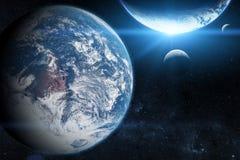 Земля в космическом пространстве с красивой планетой голубой восход солнца Элементы этого изображения поставленные NASA стоковая фотография rf
