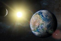 Земля в космическом пространстве с красивым восходом солнца иллюстрация вектора