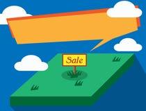 Земля для продажи и концепция недвижимости с речью пузыря на сини стоковое фото