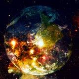 Земля и галактика Элементы этого изображения поставленные NASA стоковое фото rf