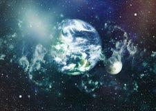 Земля и луна от космоса Весьма детальное изображение включая элементы поставленные NASA стоковые фото