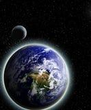 Земля и луна Стоковое Изображение RF
