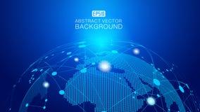 Земля и пунктирная линия цифров соединяют накаляя предпосылку науки о земле и технологии, голубые элементы вектора влияния технол Стоковое Изображение