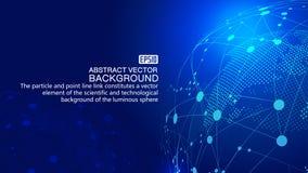 Земля и пунктирная линия цифров соединяют накаляя предпосылку науки о земле и технологии, голубые элементы вектора влияния технол Стоковые Изображения RF