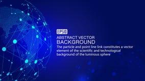 Земля и пунктирная линия цифров соединяют накаляя предпосылку науки о земле и технологии, голубые элементы вектора влияния технол Стоковая Фотография RF