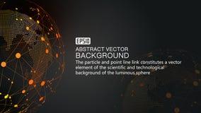 Земля и пунктирная линия цифров соединяют накаляя предпосылку науки о земле и технологии, голубые элементы вектора влияния технол Стоковая Фотография