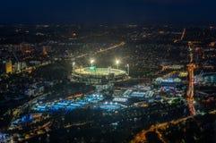 Земля и Yarra сверчка Мельбурна паркуют стадион тенниса загоренный на заходе солнца Стоковые Изображения RF