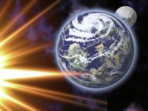 Земля, луна и Солнце Стоковое фото RF
