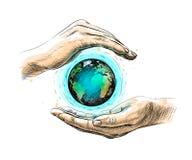 Земля между руками представляя консервацию окружающей среды, нарисованную руку иллюстрация штока