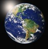 земля над восходом солнца иллюстрация штока