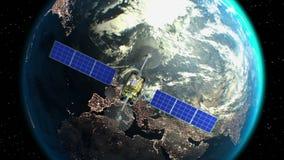 Земля на предпосылке, выдуманный спутник замечания летает в прошлом, анимация 3d Текстура планеты была создана внутри бесплатная иллюстрация