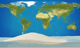 Земля планеты мира с островом и океаном 3d-illustration Elemen Стоковое Фото