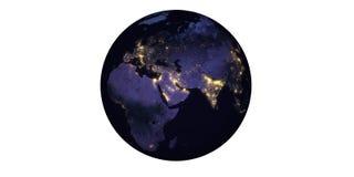 Земля планеты на ноче увиденной от llights космоса стоковое фото