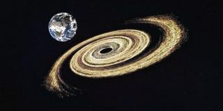 Земля планеты около гигантской черной дыры стоковые фото