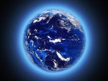Земля планеты светит взгляду от космоса 3d для того чтобы представить иллюстрация вектора