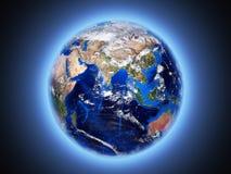 Земля планеты светит взгляду от космоса 3d иллюстрация вектора