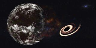 Земля планеты с взрывом черной дыры стоковые фотографии rf
