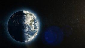Земля планеты с восходом солнца в космосе, восходящем солнце над землей Планета земли Стоковые Изображения RF