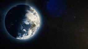 Земля планеты с восходом солнца в космосе, восходящем солнце над землей Планета земли Стоковые Фотографии RF