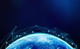 Земля планеты с интернет-связью выравнивается для conce технологии Стоковые Изображения RF