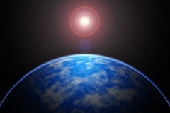 Земля покрывает солнце в красивом солнечном затмении Стоковое Изображение RF