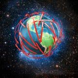 земля принципиальной схемы связи предпосылки Стоковые Изображения