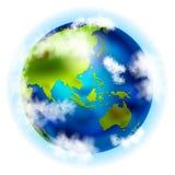 Земля с Азией и Австралией Стоковое Изображение RF