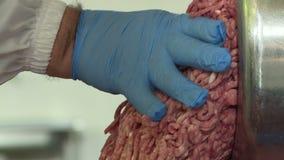 Земное мясо для сосиски приходя из мясорубки видеоматериал