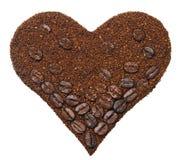 Земной кофе в форме сердца Стоковые Фото