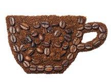Земной кофе в форме чашки кофе Стоковые Изображения