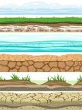 Земные безшовные уровни Заземленные пустыней поверхности воды текстуры травы льда почвы земли каменные Вектор ui игры иллюстрация штока