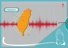 Землетрясение в концепции Тайваня Editable искусство зажима иллюстрация штока