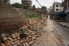 Землетрясение 2015 Непала Катманду Стоковое Изображение