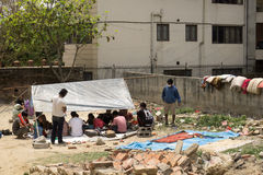 Землетрясение 2015 Непала Катманду стоковые фотографии rf