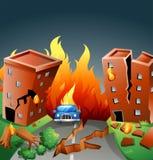 Землетрясение с главным огнем в городе бесплатная иллюстрация