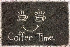 Земли кофе пишут время кофе Стоковое Фото