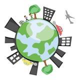 Земля вектора показывая здания, детей, деревья Стоковые Изображения RF
